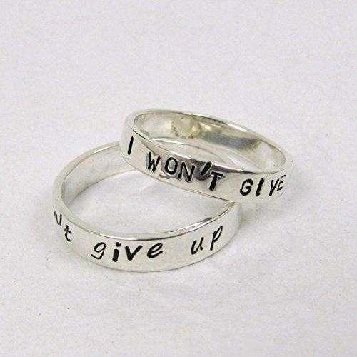 (Pure Silver Personalized Promise Rings, 3 or 4 mm wide, set of 2 rings. couples promise rings)