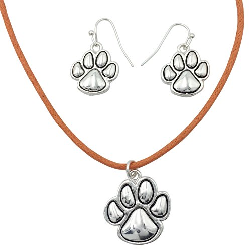 (Paw Print School Spirit Mascot Silver Tone Necklace & Earring Set- Assorted Colors (Orange Cord))