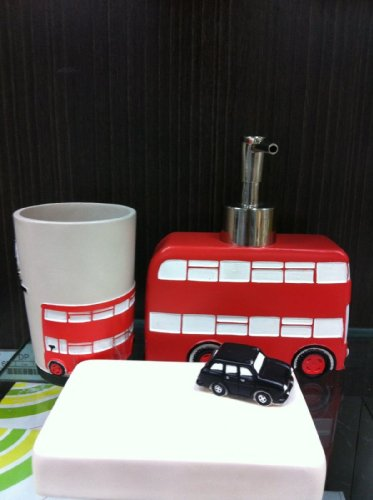 i love london red bus london bathroom accessories set soap dispenser soap dish tumbler - Bathroom Accessories London
