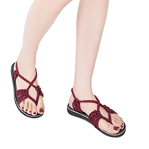HGWXX7 Flat Sandals,Womens Summer Fashion Rope Large Size Flip Flops Beach Shoes(US-7.5/CN-42,Wine Red)