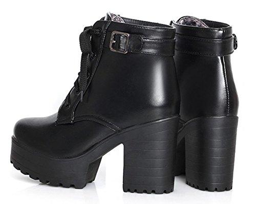 Idifu Mujeres Fashion Chunky Platfrom Lace Up Buckle Botines Negro