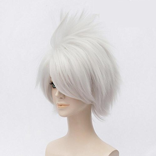 Amazon.com: Futuretrend New Arrival Short Fluffy Oblique Bangs Silvey White Hair Party Full synthetic wigs peruca pelucas: Beauty