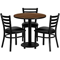 Signature Design by Ashley Flash Furniture 30 Round Walnut Laminate Table Set with 3 Ladder Back Metal Chairs - Black Vinyl Seat