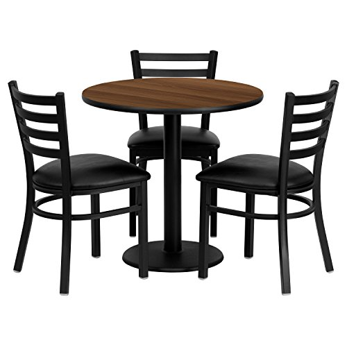 "Flash Furniture 30"" Round Walnut Laminate Table Set with 3 Ladder Back Metal Chairs with Black Vinyl Seat"