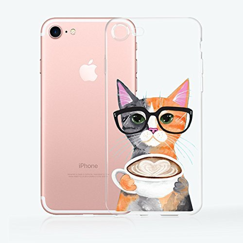 iPhone 7, Colorful Rubber Flexible Silicone Case Bumper for Apple Clear Cover - Nerdy Cat Having Coffee -