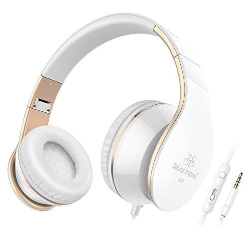 Headphones, Sound Intone I65 Headphones with Microphone and Volume Control for Travel, Work, Sport, Foldable Headset for iPhone and Android Devices(White/Gold) by Sound Intone