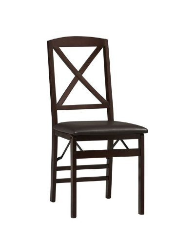 Linon Tremont X-Back Folding Dining Chair – 2 Chairs