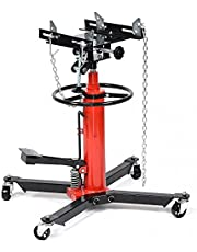 LINKLIFE Hydraulic Transmission Jack Adjustable Height 1100lbs 2 Stage Hydraulic Telescoping Transmission Jack with Foot Pump, 360° Swivel Wheel Lift Hoist for Car Lift, (Red)