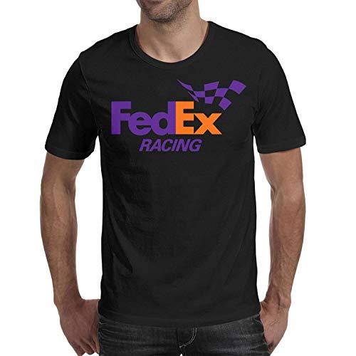 (YUIOA Men Black Tee Shirts Cotton Jersey FedEx-Racing-Logo- Short Sleeve T Shirts)