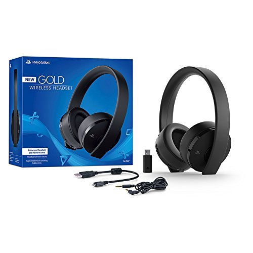 Sony PlayStation Gold Wireless Headset 7.1 Surround Sound PS4 New Version 2018 ()