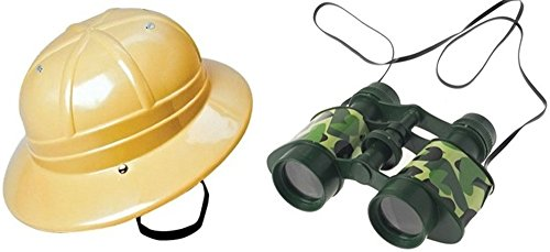 Jungle Safari Adventure Set -Hard Plastic Hat + Camouflage Binoculars - Pretend Play Dress Up - Safari Plastic Hat