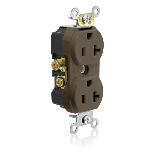 (Leviton TCR20 Side Wired Commercial Spec Grade Tamper Resistant Duplex Receptacle, 20-Amp, 125-volt, Brown)