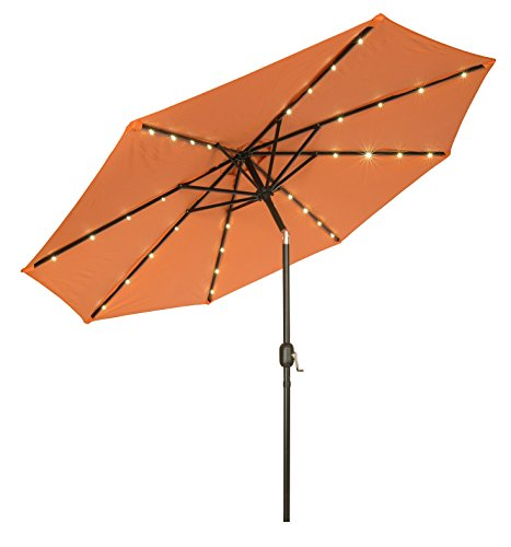 Deluxe Solar Powered LED Lighted Patio Umbrella – 9′ – By Trademark Innovations (Orange)