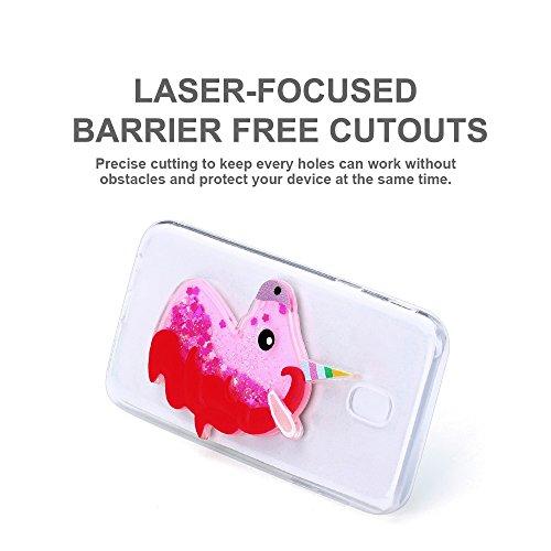 Funda Galaxy J5 2017, Caselover 3D Bling Silicona TPU Unicornio Carcasas para Samsung Galaxy J5 2017 J530 Glitter Líquido Arena Movediza Protección Caso Sparkle Brillar Cristal Tapa Case Suave Transpa Rosa roja