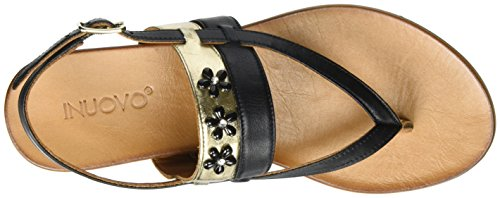 Inuovo 7295, Tongs Femme Noir (Black-gold 16779146)