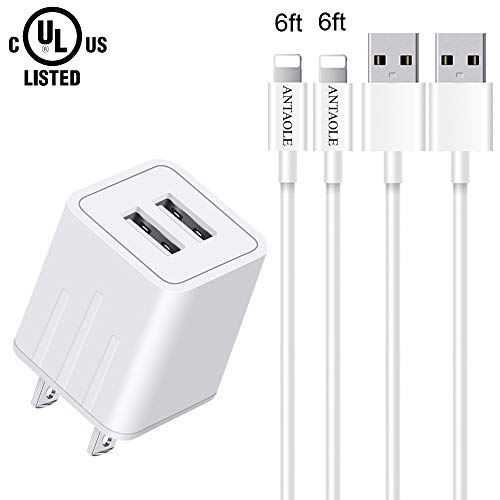 ANTAOLE Phone Charger Dual Port Wall Charger Travel Power Adapter(ETL Listed), 2-Pack 6feet USB Cable Data Sync Charging Cord Compatible with Phone XS MAX/XR/X/8/7/6S/6/Plus/5S/ES/5/5C
