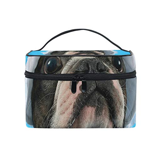 Terrier White Hat - Hengpai Dogs Boston Terrier White Hat Blue Cosmetic Bag Travel Makeup Train Cases Storage Organizer for Women