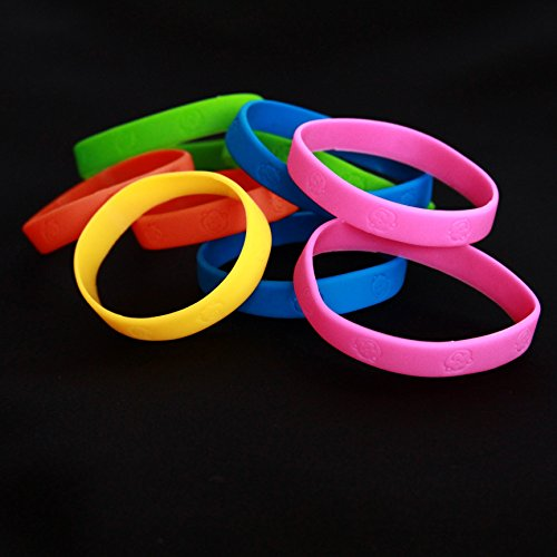 Monkey Band - Dazzling Toys 48 Pack Bracelets | 4 Dozen Rubber Neon Monkey Wristbands | Pack of 48 | Makes Great Kids Party Favors, Rewards, Gifts.