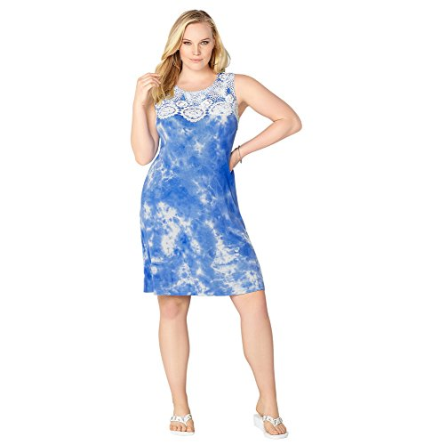 AVENUE Women's Crochet Trim Tie Dye Dress – 14-16 Plus, Blue