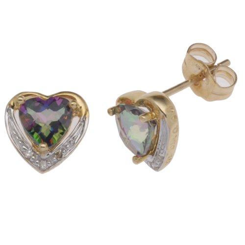 Boucles d'oreille Femme - E-11075 - Or jaune (9 cts) 0.7 Gr - Topaze - Diamant 0.03 Cts