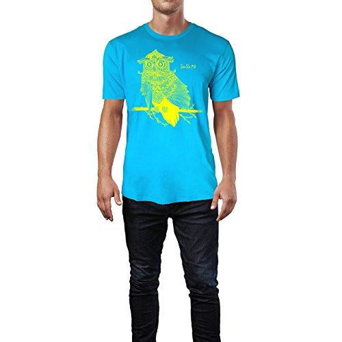 SINUS ART ® Eule auf Ast mit detailliertem Muster Herren T-Shirts in Karibik blau Cooles Fun Shirt mit tollen Aufdruck