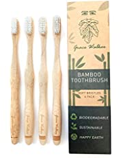 Bamboo Toothbrush, Soft Bristle Heads, 4 Pack, Adults & Kids, Natural, Biodegradable, BPA Free, Highest Quality, by Grace Walker