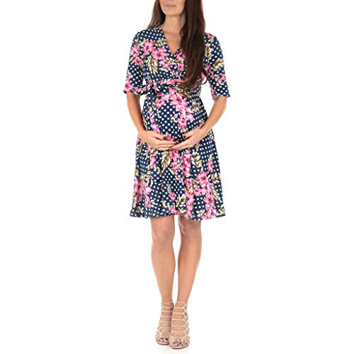 Mother Bee Women's Knee Length Wrap Dress with Belt - Made in USA Floral Polkadot Navy - In Dot Polka Womens Dress