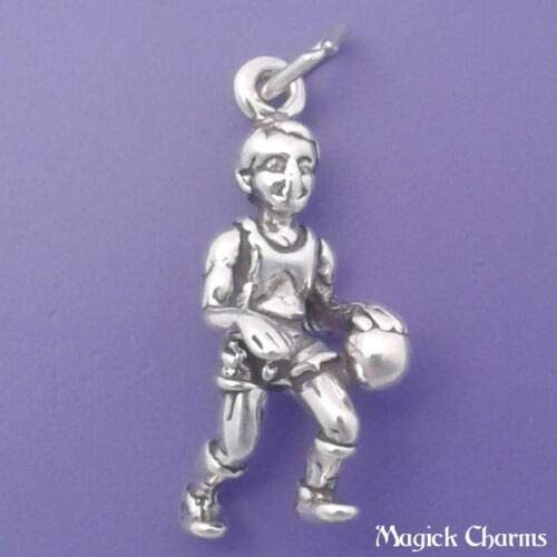 (Sterling Silver 3-D Basketball Player Charm DIY Jewelry Making Supply for Charm Pendant Bracelet by Charm Crazy)