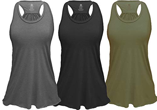 Epic MMA Gear Flowy Racerback Tank Top, Regular and Plus Sizes Pack of 3 (S, Black/Army/Grey)