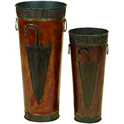 "Benzara Deco 79 96571 Metal Umbrella Stand (Set of 2) 21"",16"" H"