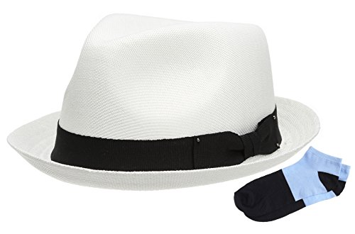 Men's Summer Lightweight Linen Fedora Hat with Casual Low Cut Sock (F0960-WHITE,SM)