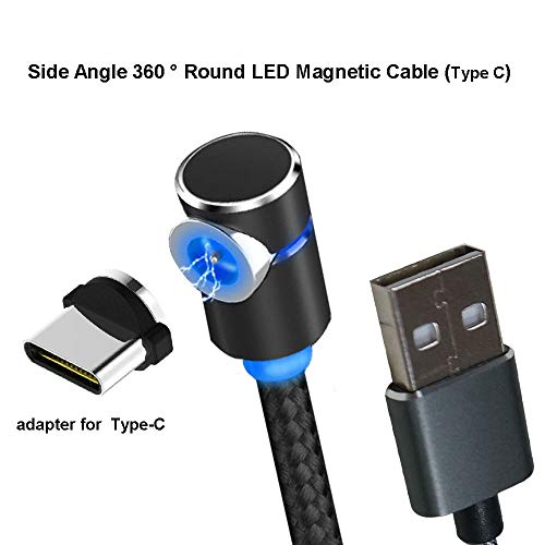 Side Magnetic Charger Charging Cable for Micro USB Android Type C Phone Pad Tablet Xbox Devices.360° Round Max 2.4At Fast with Soft LED Indicator. (Type C) -