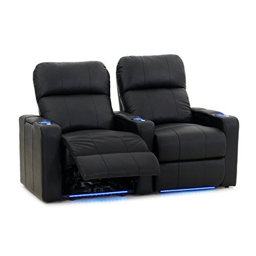Octane Turbo XL700 Black Bonded Leather with Power Recline (Row of 2 Straight) ()