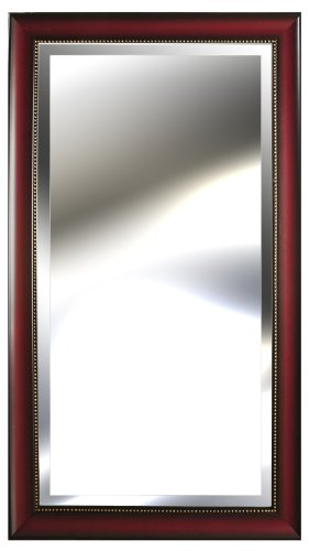 Mirror Vanity Mahogany (Gallery Solutions Deep Rosewood Beveled Mirror with Inner Gold Beading, 24 by 48-Inch)