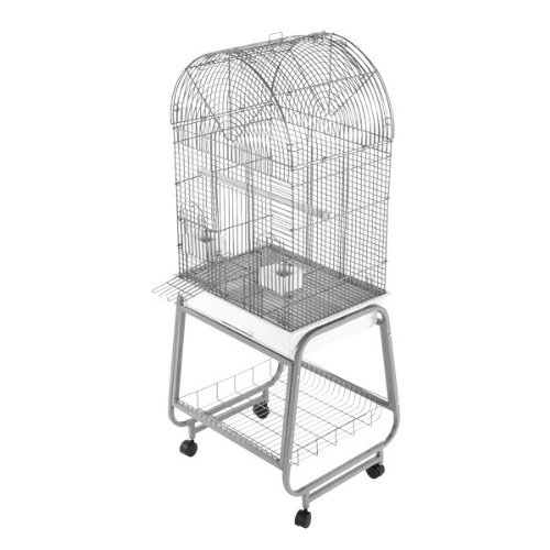 Image of Pet Supplies A&E Cage 701 Platinum Opening Dome Top with Plastic Base and Metal Stand