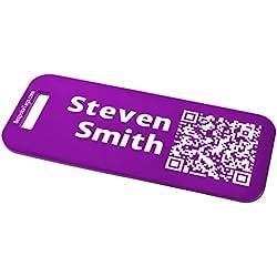 Custom Metal Luggage Tag - Customized Engraved Info & QR Code (Small, Plum)