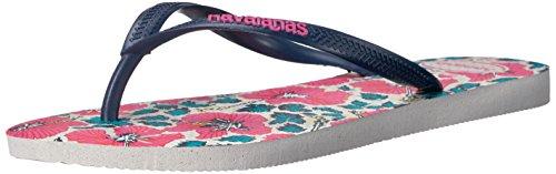 Havaianas Women's Slim Floral Sandal Flip Flop, White/Navy Blue, 37 BR/7/8 W US - Havaianas Floral Flip Flops