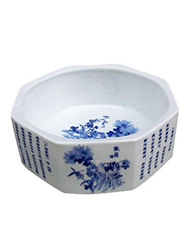 Dahlia Chinese Blue and White Floral Design Ceramic Octagon Water Basin Pot