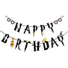 [UPGRADED]Harry Potter Inspired Black Happy Birthday Felt Garland Magic Party Banner Decor-Pre Strung