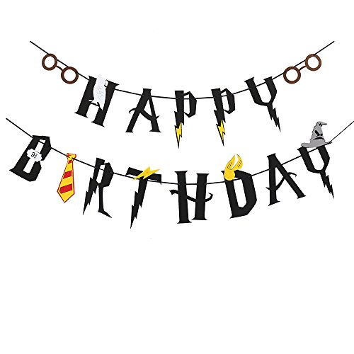 Harry Potter Inspired Black Happy Birthday Felt Garland Magic Party Banner - Glass Potter Harry