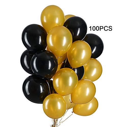 12 in Black and Gold Balloons Helium Balloons Quality Latex Balloons Party Decorations Supplies Pack of 100,3.2g/pcs