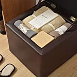 ZRX-Footstool Footstool Pouffe Osman PU Multi-Function Storage Cabinet Padded Makeup Stool for Living Room Balcony Black (30cmx30cmx35cm)