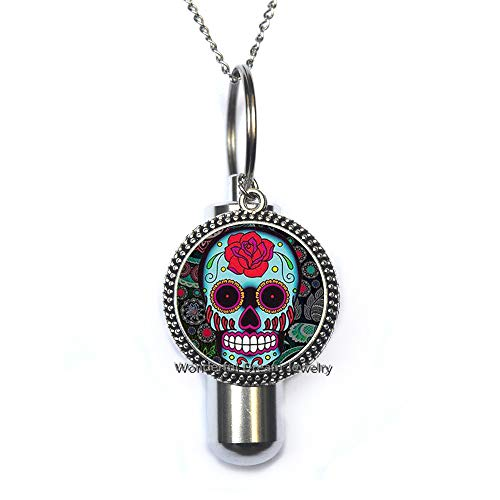 Waozshangu Sugar Skull URN Cremation URN Necklace, Simple Cremation URN Necklace,Halloween Jewelry,Charm URN, Everyday Jewelry,PU014