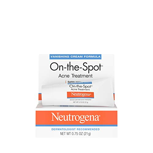 - Neutrogena On-The-Spot Acne Spot Treatment with 2.5% Benzoyl Peroxide Acne Treatment Medicine to Treat Face Acne, Gentle Benzoyl Peroxide Pimple Gel for Acne Prone Skin, .75 oz