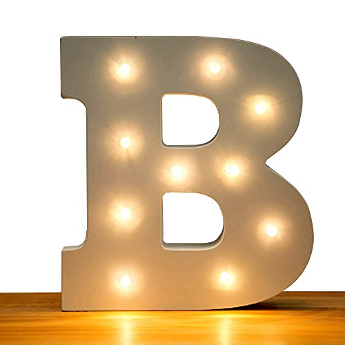 Kerong DIY LED Light Up Wooden Alphabet Marquee Letter Lights for Festival Decorative Home Party Wedding Scene Holiday Birthday Christmas Valentine,Battery Operated Warm White (B) by Kerong