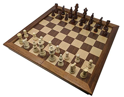 "Chess Armory Large 17"" Wooden Chess Set with Felted Game Board Interior for Storage"