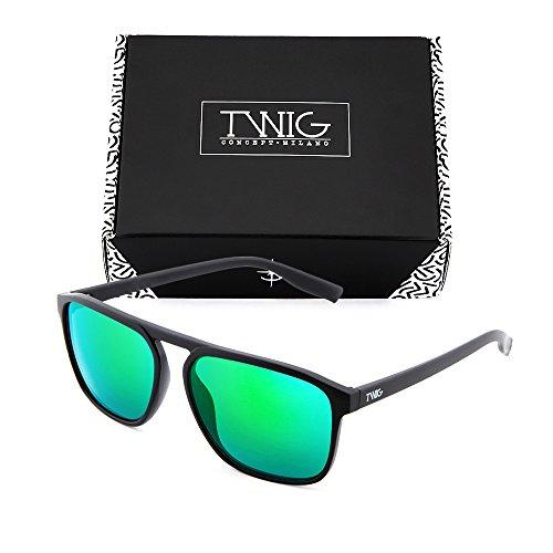 Negro TWIG sol Gafas espejo de mujer degradadas Verde hombre DOYLE Zxq8TC