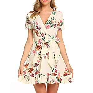 Floral Polka Dot Short Dress with Belt