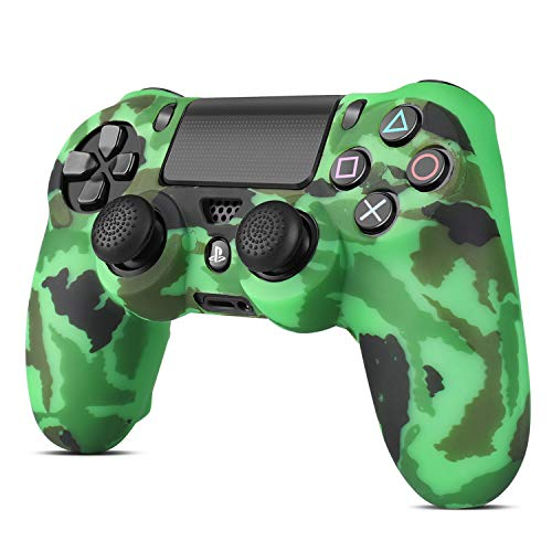 TNP PS4 / Slim / Pro Controller Skin Grip Cover Case Set - Protective Soft Silicone Gel Rubber Shell & Anti-slip Thumb Stick Caps for Sony PlayStation 4 Controller Gaming Gamepad (Camo Dark Green)