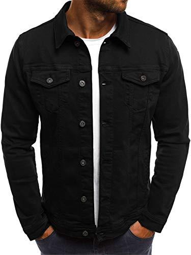 HOP FASHION Mens Casual Long Sleeve Regular Fit Cotton Lightweight Button Down Denim Jacket Front Pockets HOPM246-Black-M